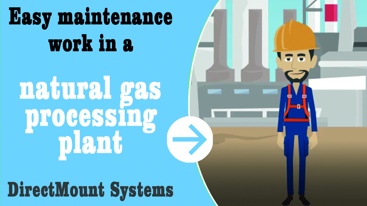 "DirectMountSystem – Youtube thumbnail for animation movie ""maintenance work in natural gas processing plant""."